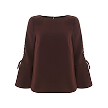 Buy Mint Velvet Fluted Sleeve Blouse, Dark Red Online at johnlewis.com