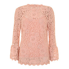 Buy Mint Velvet Lace Flared Cuff Top, Light Pink Online at johnlewis.com
