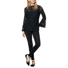 Buy Mint Velvet Lace Flared Cuff Top, Dark Green Online at johnlewis.com