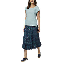 Buy East Combination Linen Jersey T-Shirt, Duckegg Online at johnlewis.com