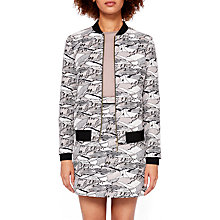 Buy Ted Baker Colour By Numbers Bearla Print Bomber Jacket, Light Grey Online at johnlewis.com