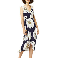 Buy Warehouse Melody Floral Asymmetric Wrap Dress, Blue Pattern Online at johnlewis.com