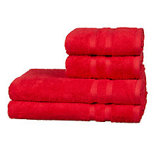 Buy John Lewis Egyptian Cotton Single Stripe Border Towels, Red, 4 Piece Online at johnlewis.com