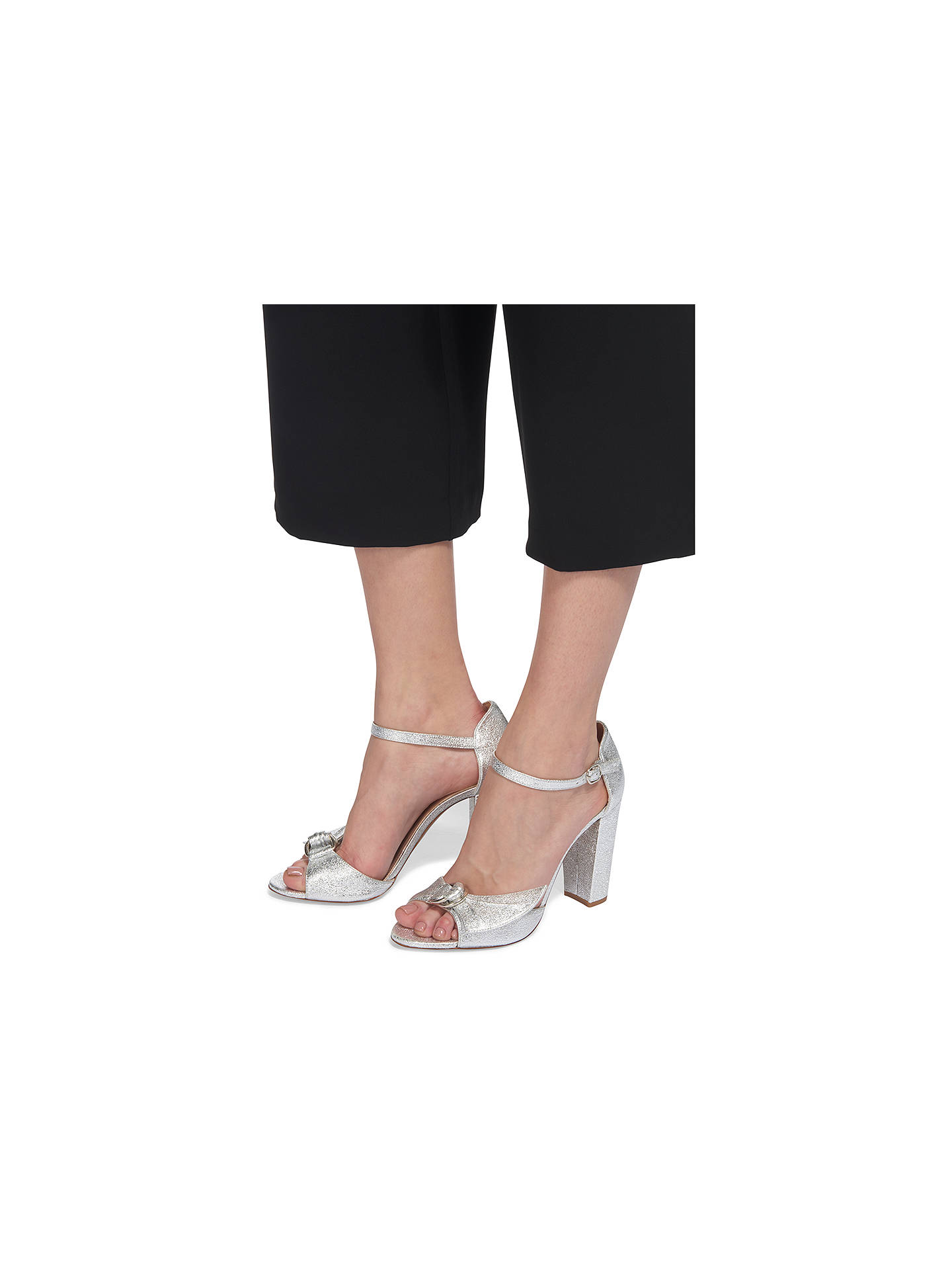 BuyWhistles Thurza Block Heeled Sandals, Silver, 3 Online at johnlewis.com
