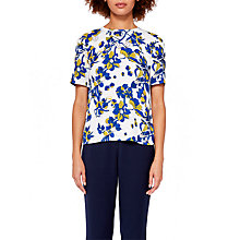 Buy Ted Baker Sophee Floral Print Pleated Back Top, Ivory/Multi Online at johnlewis.com