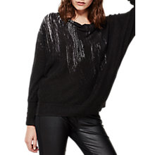 Buy Mint Velvet Cowl Neck Printed Batwing Jumper, Black Online at johnlewis.com