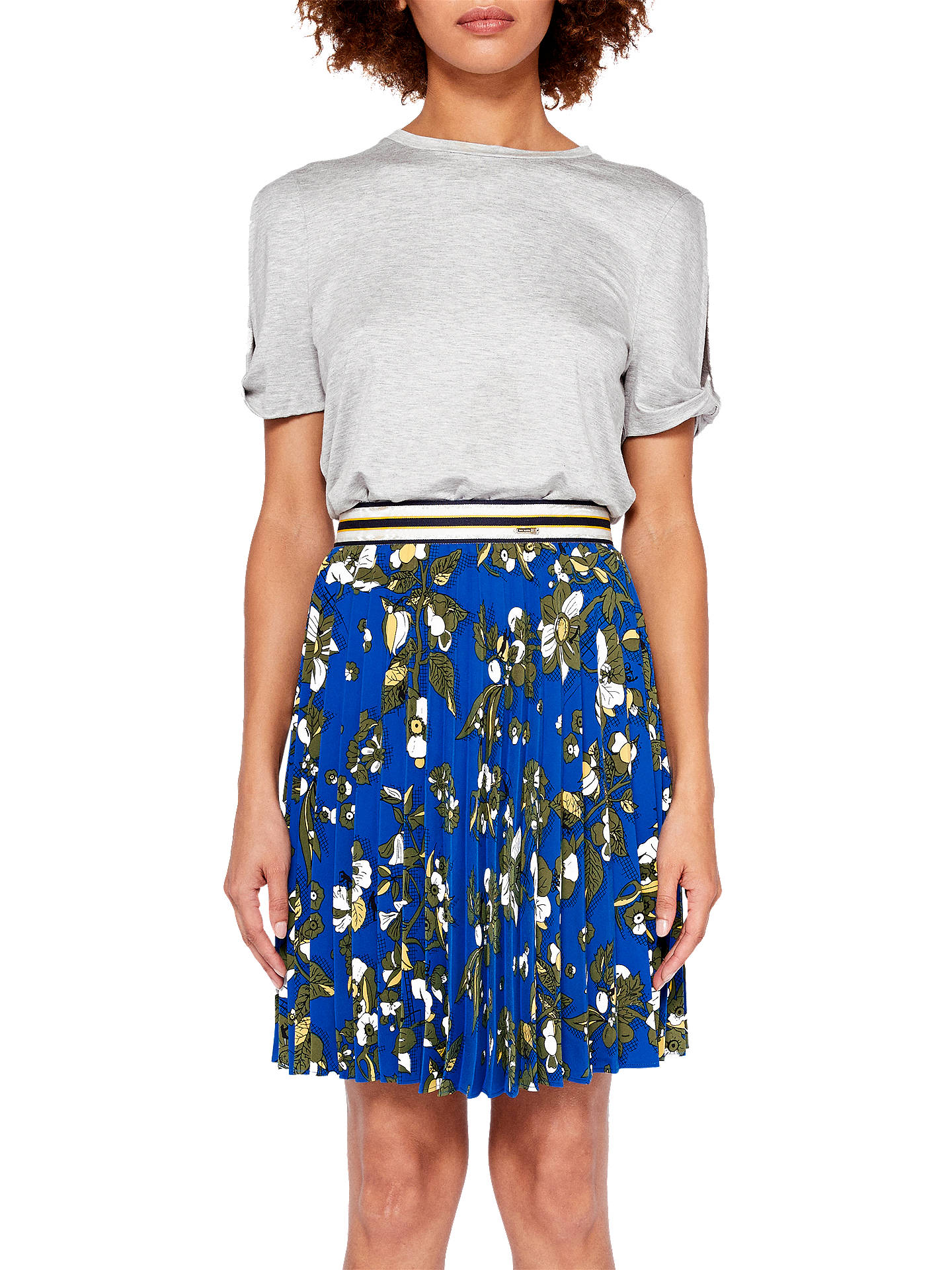 BuyTed Baker Colour By Numbers Zakai Floral Pleated Skirt, Dark Blue, 4 Online at johnlewis.com