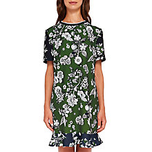 Buy Ted Baker Hoster Floral Print Frill Hem Dress, Green/Multi Online at johnlewis.com