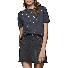 Buy Miss Selfridge Pearl Placement T-Shirt, Navy Online at johnlewis.com