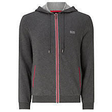 Buy BOSS Brushed French Terry Full Zip Hoodie, Grey/Red Online at johnlewis.com