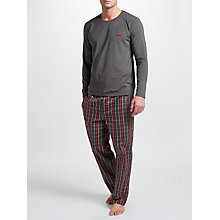 Buy BOSS Long Sleeve T-Shirt And Check Lounge Pants, Multi Online at johnlewis.com
