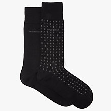 Buy BOSS Mini Square Plain Socks, Pack of 2, Black Online at johnlewis.com