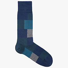 Buy BOSS Square Block Socks, Teal Online at johnlewis.com