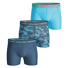 Buy Bjorn Borg Camo Plain Trunks, Pack of 3, Blue Online at johnlewis.com