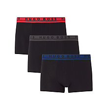 Buy BOSS Stretch Cotton Contrast Waistband Trunks, Pack of 3, Black Online at johnlewis.com