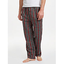 Buy BOSS Urban Check Cotton Twill Pyjama Bottoms, Grey/Red Online at johnlewis.com