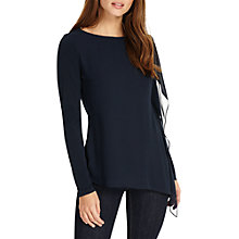 Buy Phase Eight Camille Chiffon Top, Navy Online at johnlewis.com