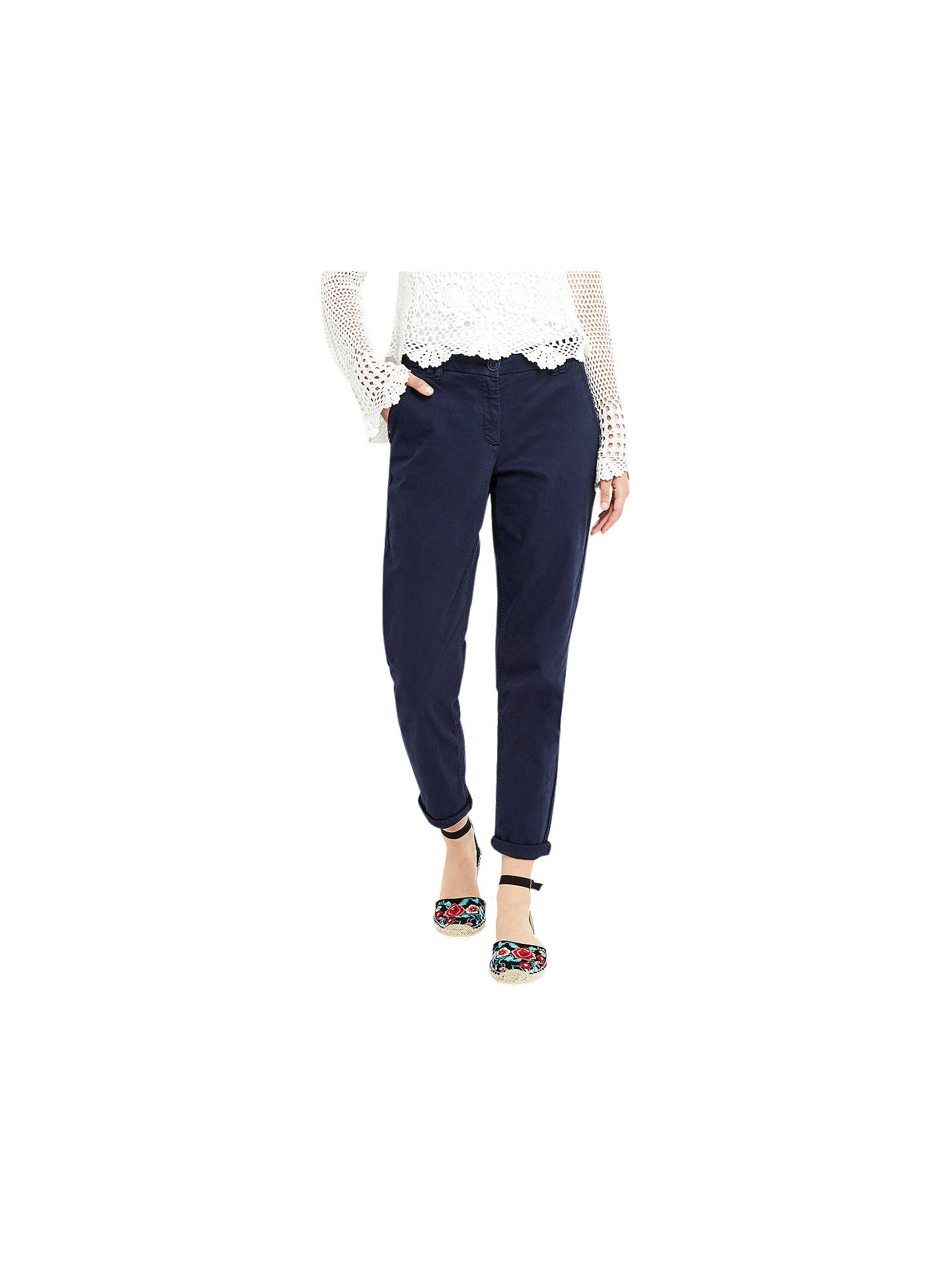 BuyOasis Casual Cotton Chinos, Navy, 6 Online at johnlewis.com