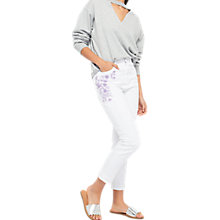 Buy Miss Selfridge Mom Embroidered Jeans, White Online at johnlewis.com