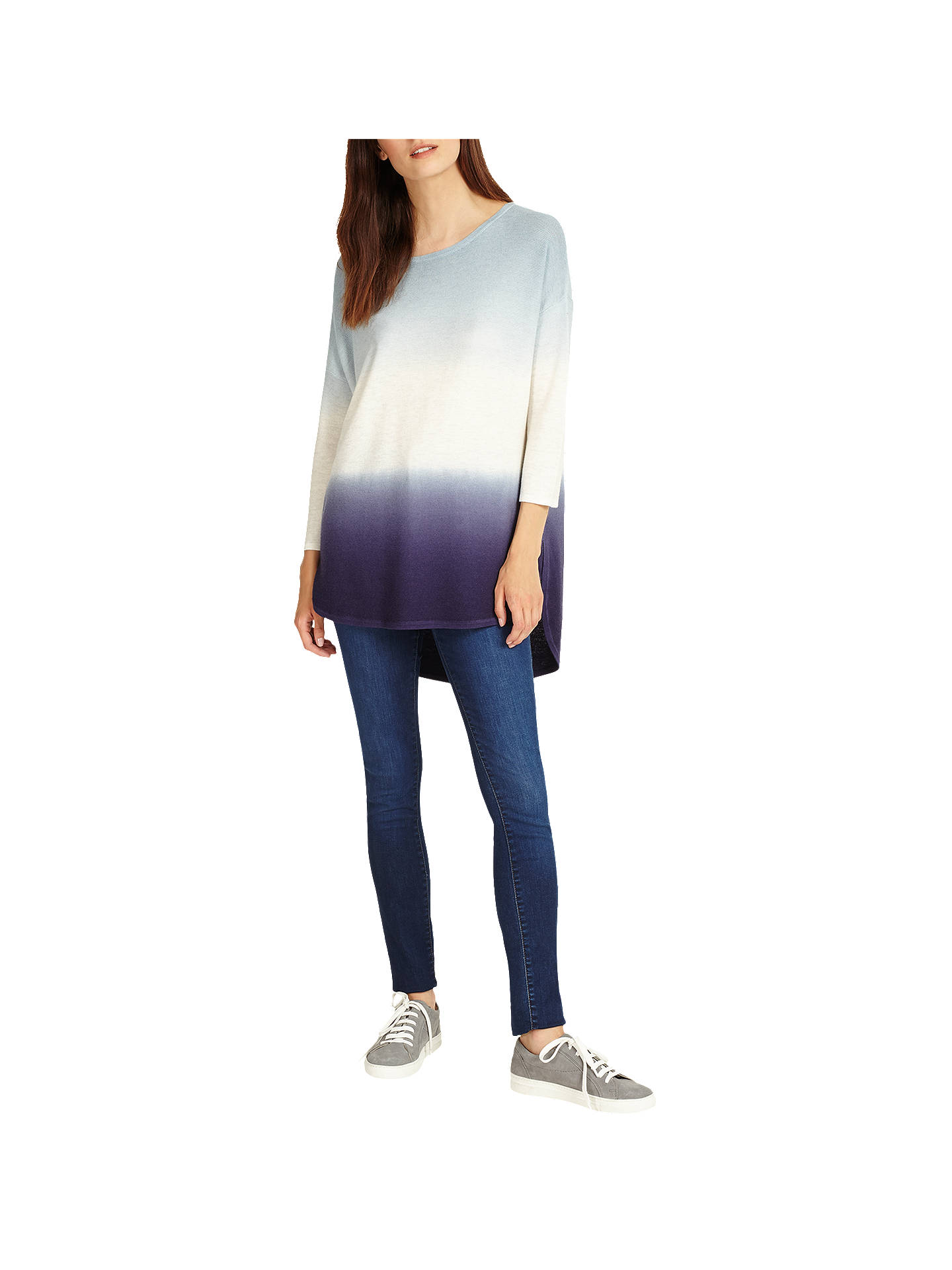 BuyPhase Eight Lynda Dip Dye Knitted Jumper, Blue/Ivory, XS Online at johnlewis.com