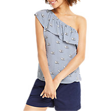 Buy Oasis One Shoulder Stripe Swan T-Shirt, Multi/Blue Online at johnlewis.com