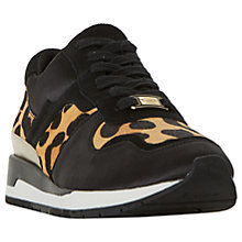 Buy Dune Elena Lace Up Trainers, Black/Leopard Online at johnlewis.com