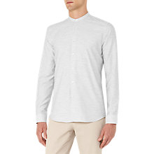 Buy Reiss Hanns Cotton Grandad Collar Shirt, Grey Online at johnlewis.com