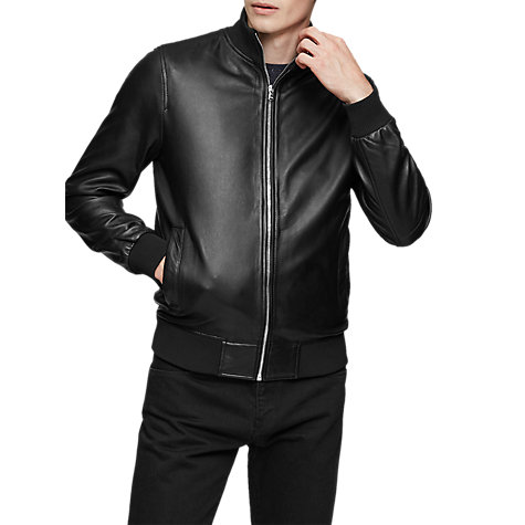 Buy Reiss Mars Leather Bomber Jacket, Black | John Lewis
