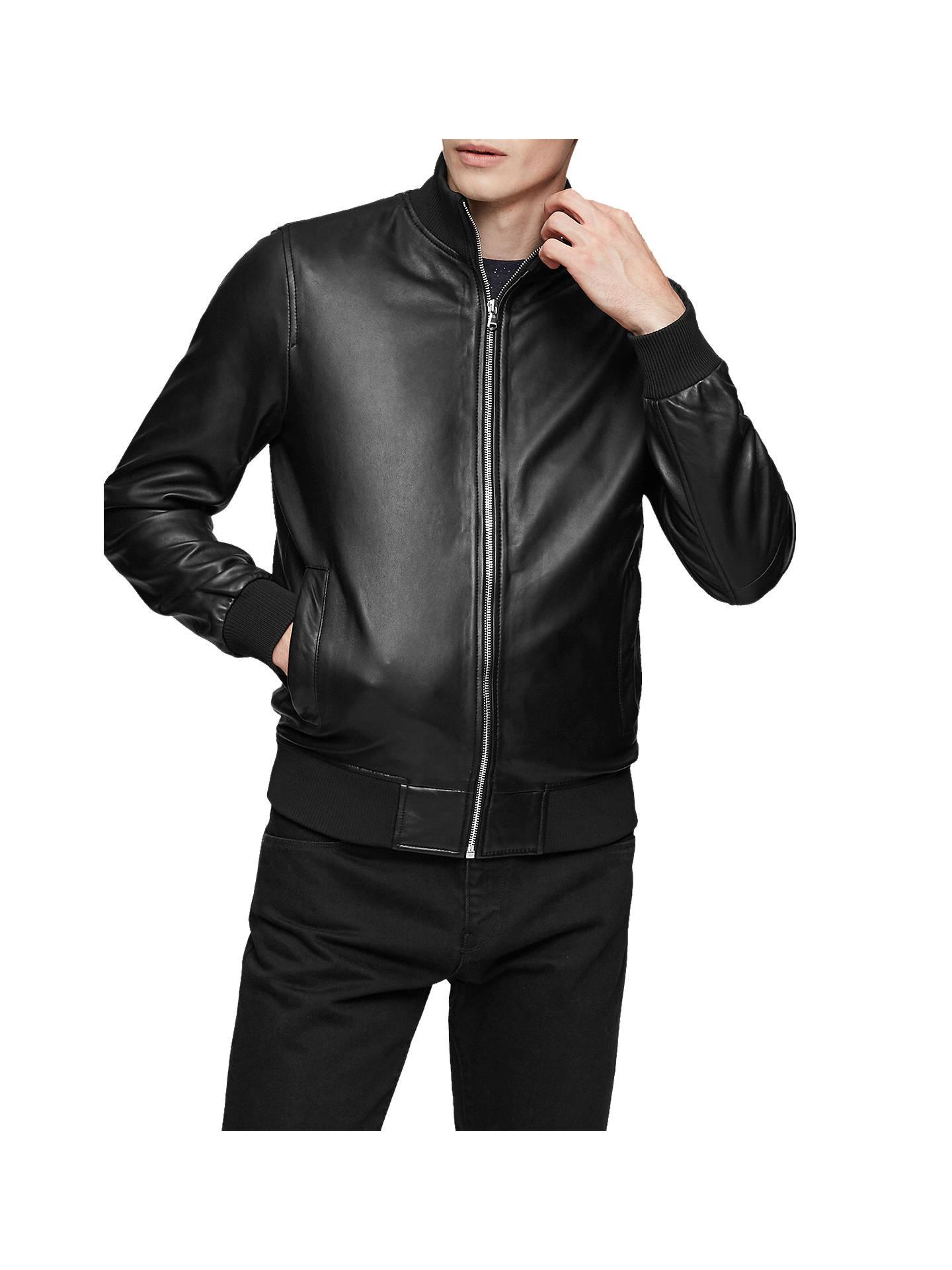 30c395c10 Reiss Mars Leather Bomber Jacket, Black at John Lewis & Partners