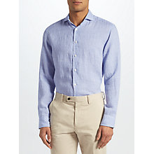 Buy John Lewis Gingham Linen Tailored Fit Shirt, Blue Online at johnlewis.com
