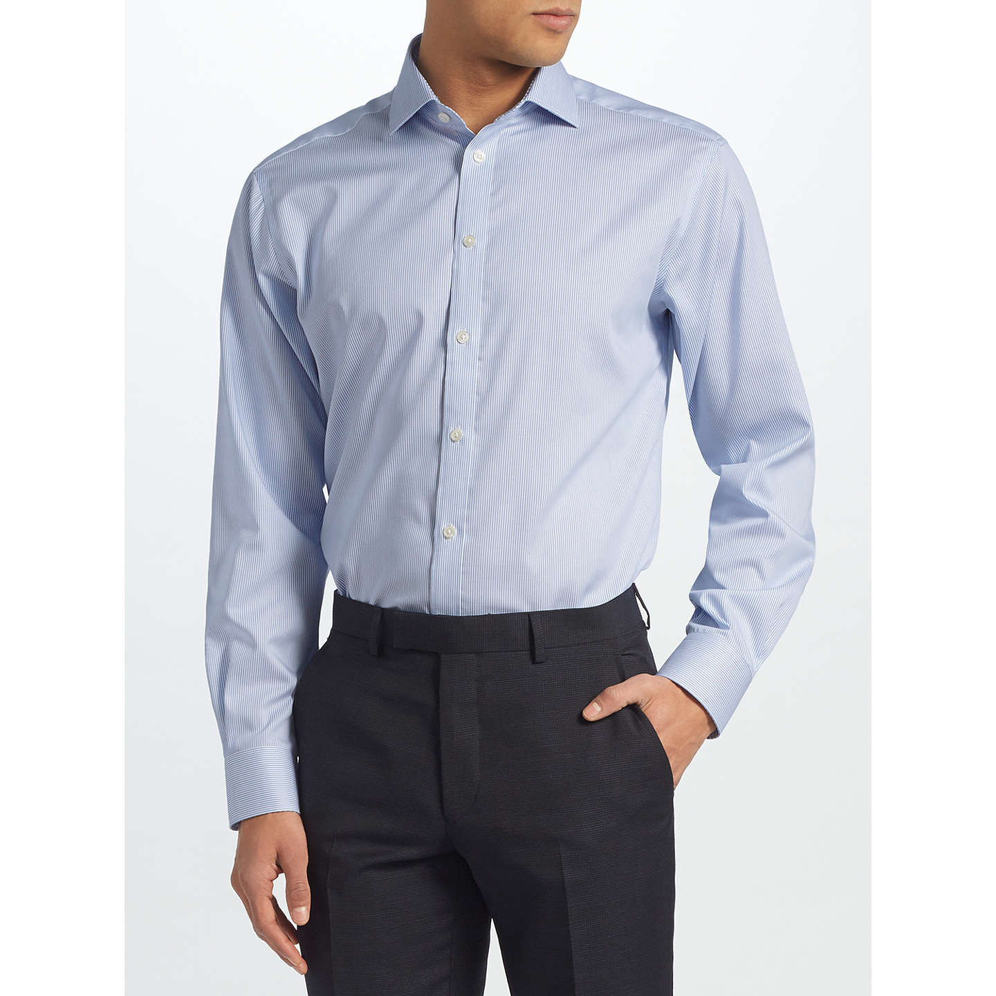 BuyJohn Lewis Non Iron Bengal Stripe Regular Fit Shirt, Blue, 15 Online at johnlewis.com