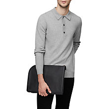 Buy Reiss Cheviot Knit Polo Shirt, Soft Grey Online at johnlewis.com