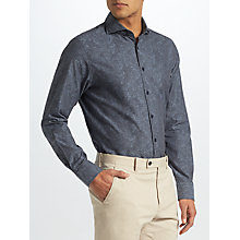 Buy John Lewis Tonal Print Tailored Fit Shirt, Indigo Online at johnlewis.com
