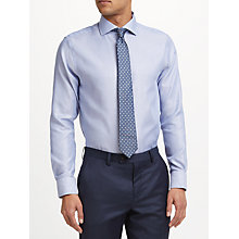 Buy John Lewis Non Iron XL Sleeve Semi Plain Tailored Fit Shirt, Sky Blue Online at johnlewis.com