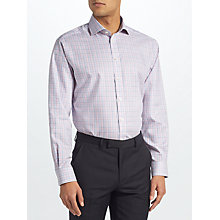 Buy John Lewis Non Iron Check Regular Fit Shirt, Blue/Pink Online at johnlewis.com