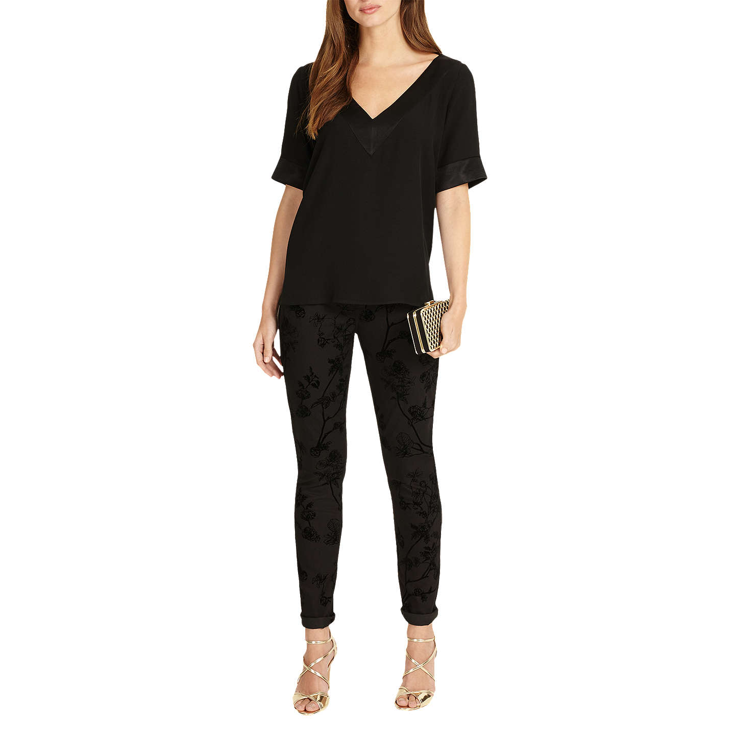 BuyPhase Eight Fiona V-Neck Blouse, Black, 8 Online at johnlewis.com