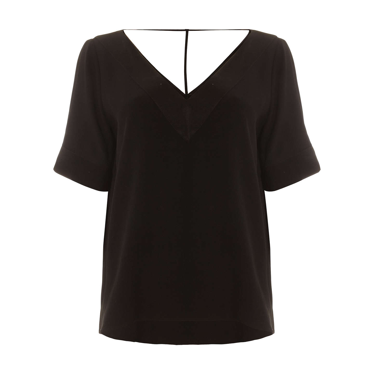 BuyPhase Eight Fiona V-Neck Blouse, Black, 10 Online at johnlewis.com