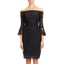 Buy Adrianna Papell Lace Sheath Short Dress, Black Online at johnlewis.com