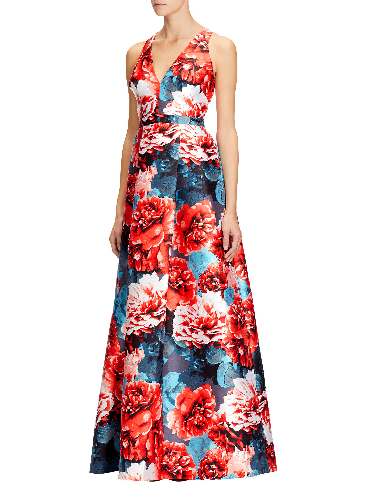 Adrianna Papell Jacquard Ball Gown, Coral/Multi at John Lewis & Partners