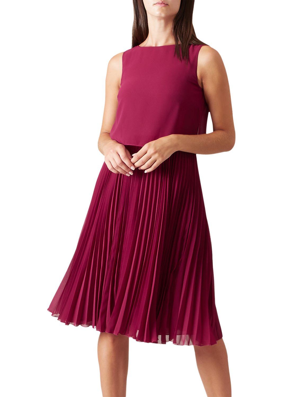 info for utterly stylish super popular Hobbs Tabitha Dress, Dark Magenta at John Lewis & Partners