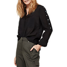 Buy Mint Velvet Button Shirt, Black Online at johnlewis.com