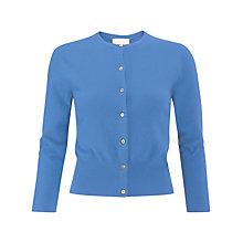 Buy Pure Collection Crop Cashmere Cardigan, Cornflower Blue Online at johnlewis.com