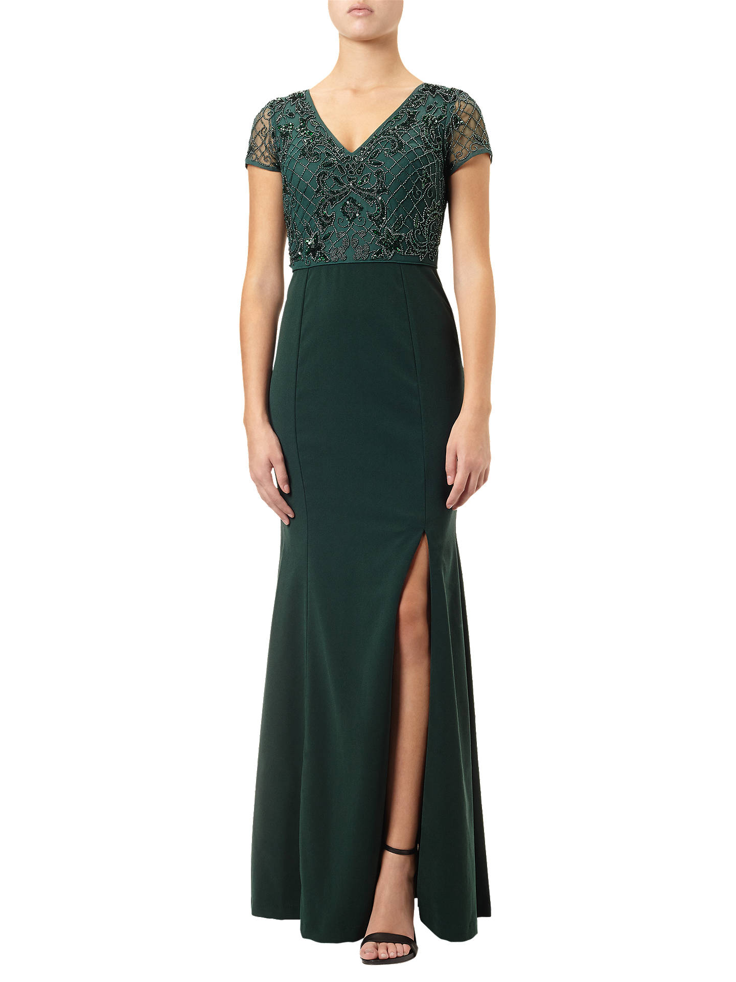 Adrianna Papell Plus Size Beaded Ball Gown, Emerald at John Lewis ...