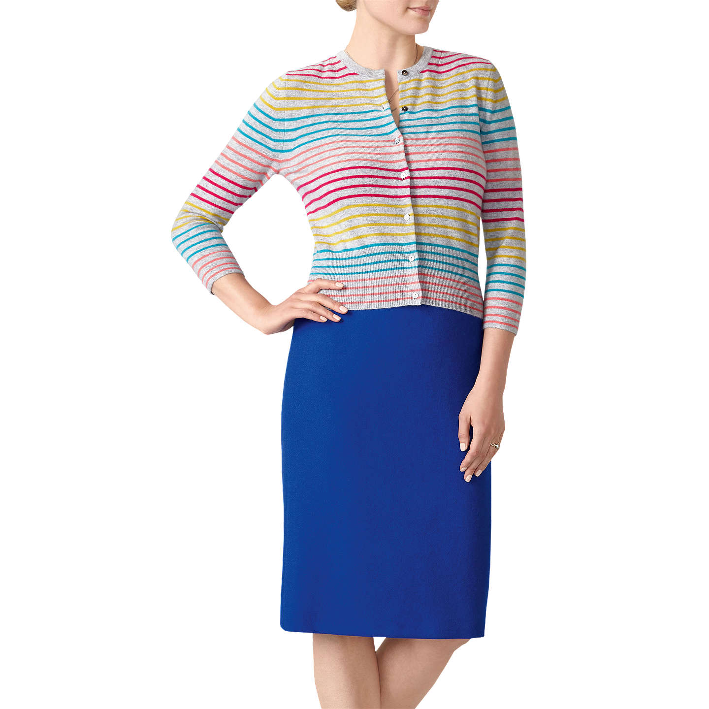 BuyPure Collection Striped Cashmere Cardigan, Colour Pop Stripe, 8 Online at johnlewis.com