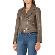 Buy Reiss Kate Pocket Detail Biker Jacket, Khaki Online at johnlewis.com