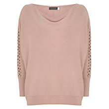 Buy Mint Velvet Stud-Sleeve Batwing Jumper, Light Pink Online at johnlewis.com