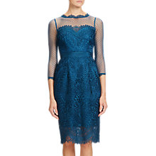 Buy Adrianna Papell Venice Lace Midi Shift Dress, Peacock Online at johnlewis.com