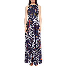 Buy Ted Baker Kyoto Gardens Print Sleeveless Halterneck Floral Maxi Dress, Navy/Multi Online at johnlewis.com