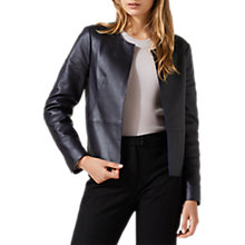 Buy Jigsaw Edge To Edge Leather Jacket, Navy Online at johnlewis.com