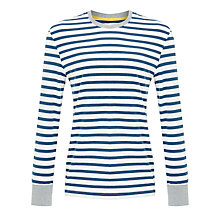 Buy John Lewis Breton Stripe Long Sleeve Pyjama Top, White/Blue Online at johnlewis.com